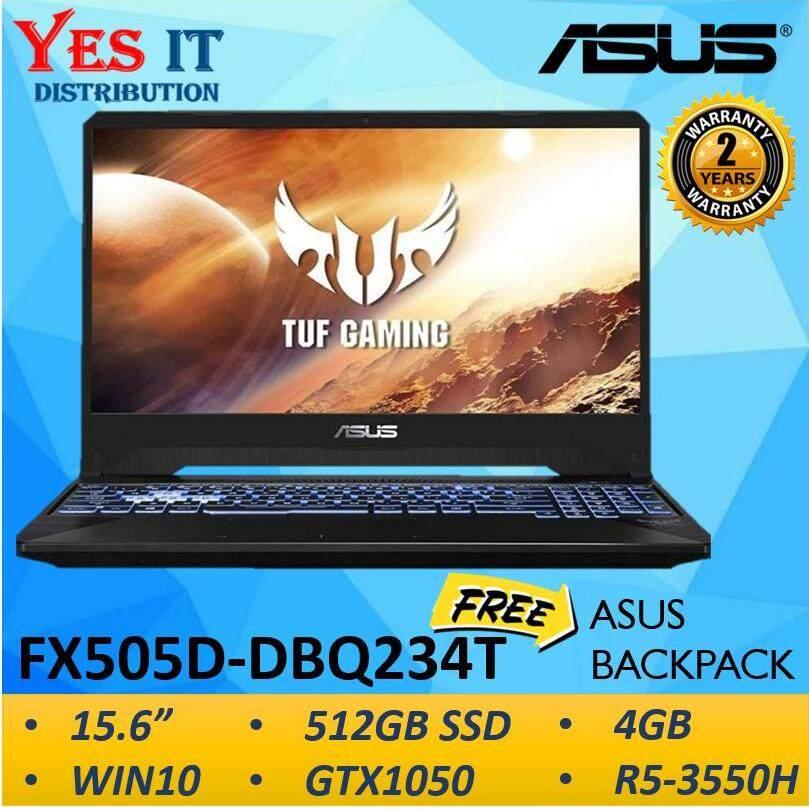 "ASUS TUF GAMING FX505D-DBQ234T LAPTOP(R5-3550H/4GB/512GB M.2 SSD/GTX 1050 3GB/15.6"" FHD IPS/W10/2YRS)--FREE ASUS BAG Malaysia"