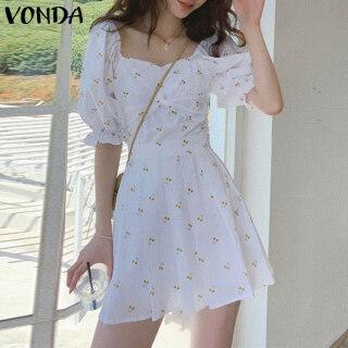 (Phong Cách Hàn Quốc) VONDA Đầm Nữ Xếp Ly Tay Ngắn Ngoại Cỡ Casual A-Line Dress Mùa Hè Mini Dress thumbnail