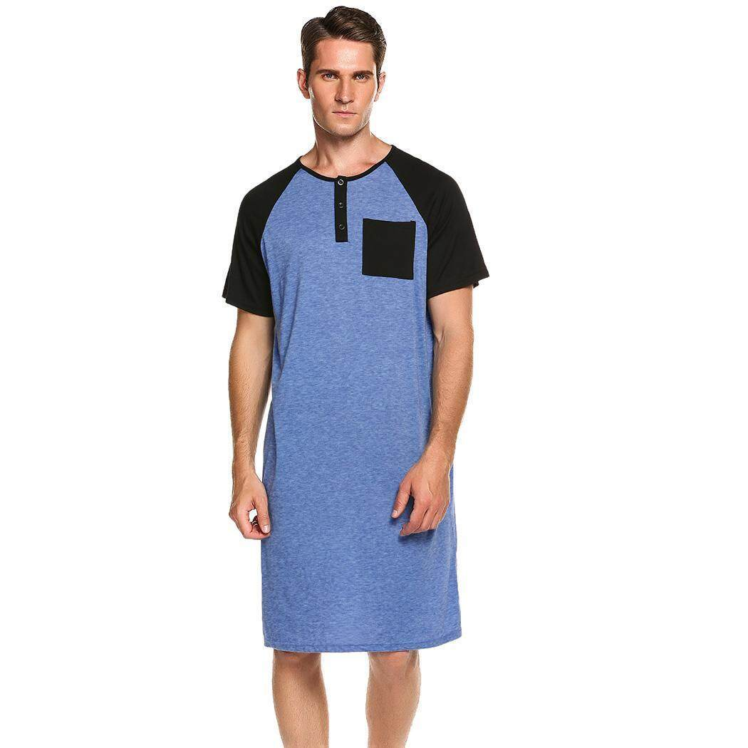 e473450227 Sunweb Men Comfort Henley Short Sleeve Nightshirt Patchwork Sleep Shirt  Nightwear