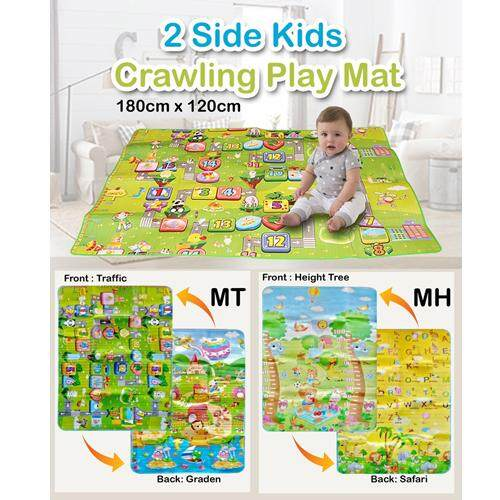 【120cm X 190cm】double Sides Non-Slip Waterproof Kids Crawling Play Mat - Random Design By Samtrick Hardware.