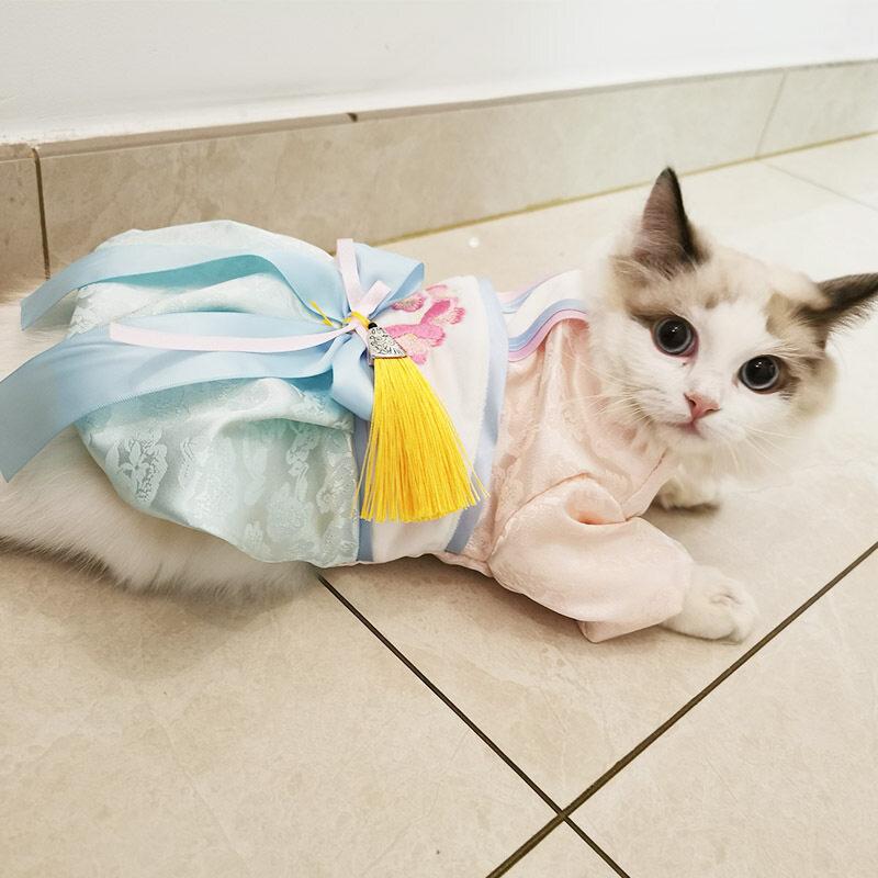 ☢Trang Phục Ấm Áp Cho Chó Mùa Thu/Đông 2019 Mới Tua Rua Trang Phục Hanfu Váy Mèo Cổ Tích Trang Phục Teddy VIP