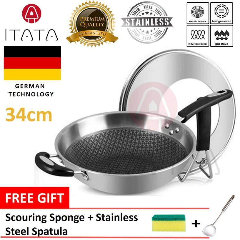 ITATA Stainless Steel 32/34cm Smokeless Frying Cooking Steamboat Hot Pot Wok Pan for Induction Cooker Kitchen + Cover