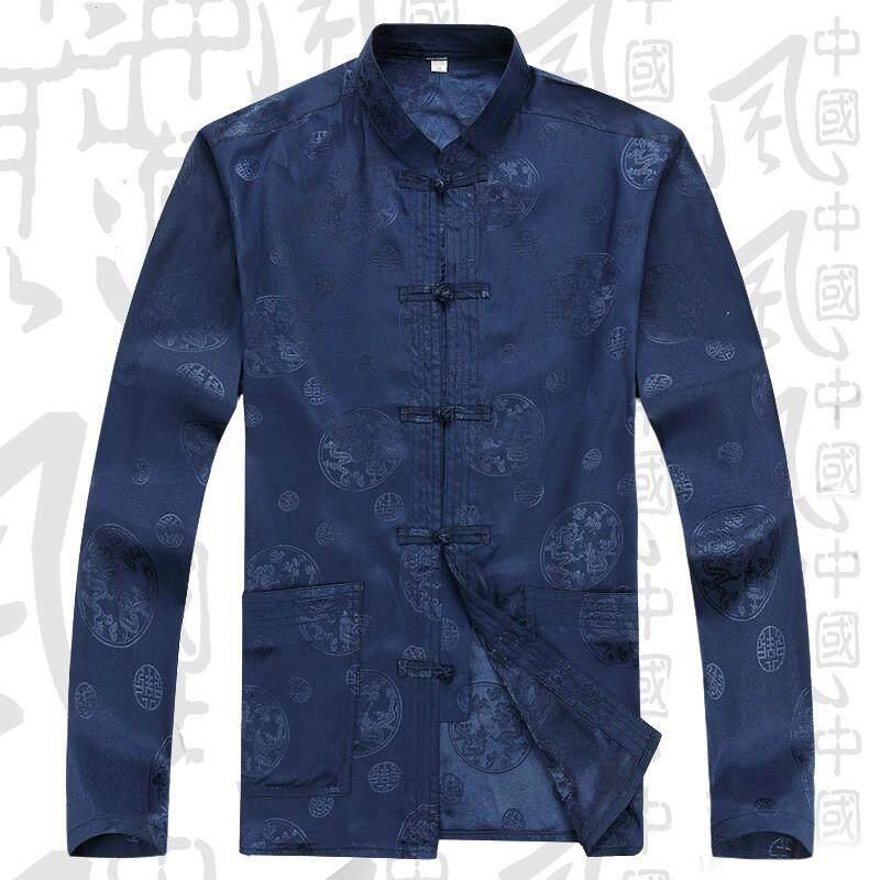 ẤM CÚNG LÊN Xuân Thu Đường phù hợp với nam lụa tay dài mỏng Áo Sơ MI PHI LỤA khóa phong cách Trung Hoa