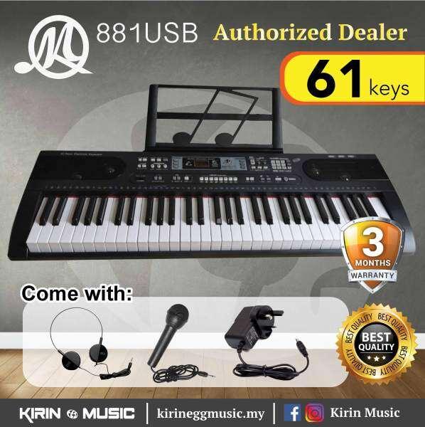 Keyboard Piano 61 keys MQ881 USB Recording Keyboard Package with Headphone, Mic, Music Rest Malaysia