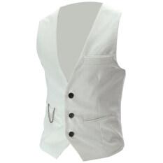 Áo Vest Lunchmoney Màu Trơn Cho Nam, Áo Blazer Cài Khuy Không Tay Cổ Chữ V Có Túi Phù Hợp Với Áo Ghi Lê
