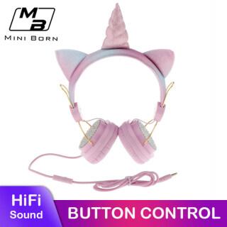 Mini born Children Headphones Wired Cute Unicorn Bass Foldable Headset Over the Ear Headphone Audio MP3 Portable Adjustable Earphones Gaming Headset Mic For Mobile PC thumbnail