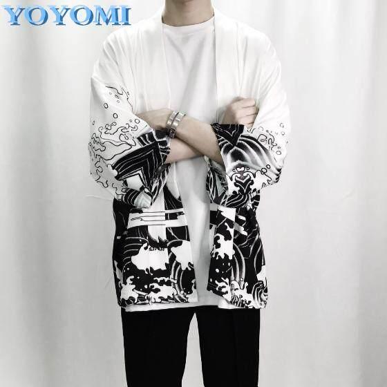 Yoyomi Men's Kimono Japanese Clothes Streetwear Casual Jackets & Cardigan By Yoyomi.
