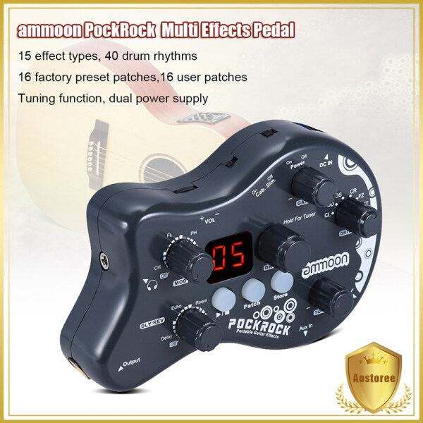 ammoon PockRock Portable Guitar Multi-effects Processor Effect Pedal 15 Effect Types 40 Drum Rhythms Tuning Function   with Power Adapter Malaysia