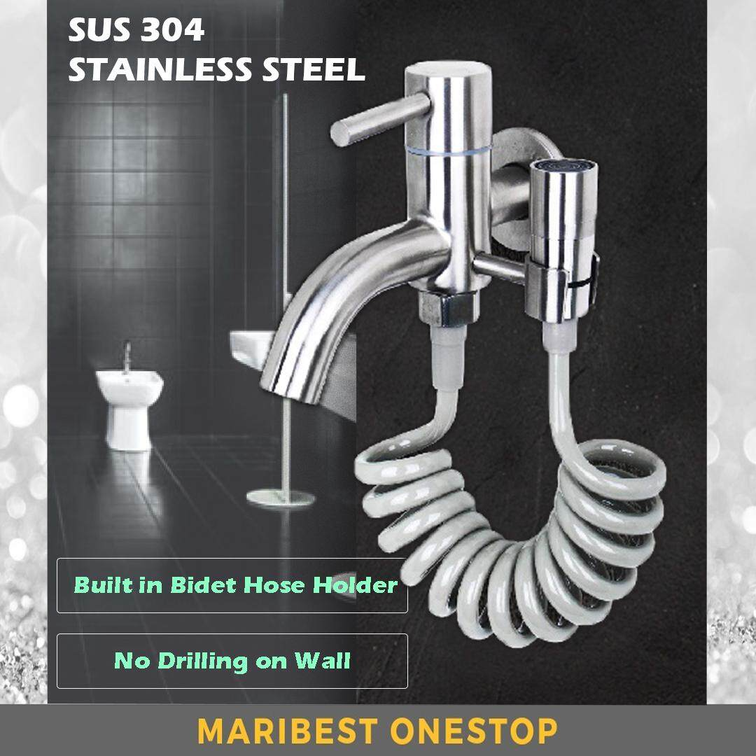 304 Stainless Steel Two Way Faucet Tap Bubble Head Bidet Sprayer ABS Spring Hose Set for Bathroom Toilet