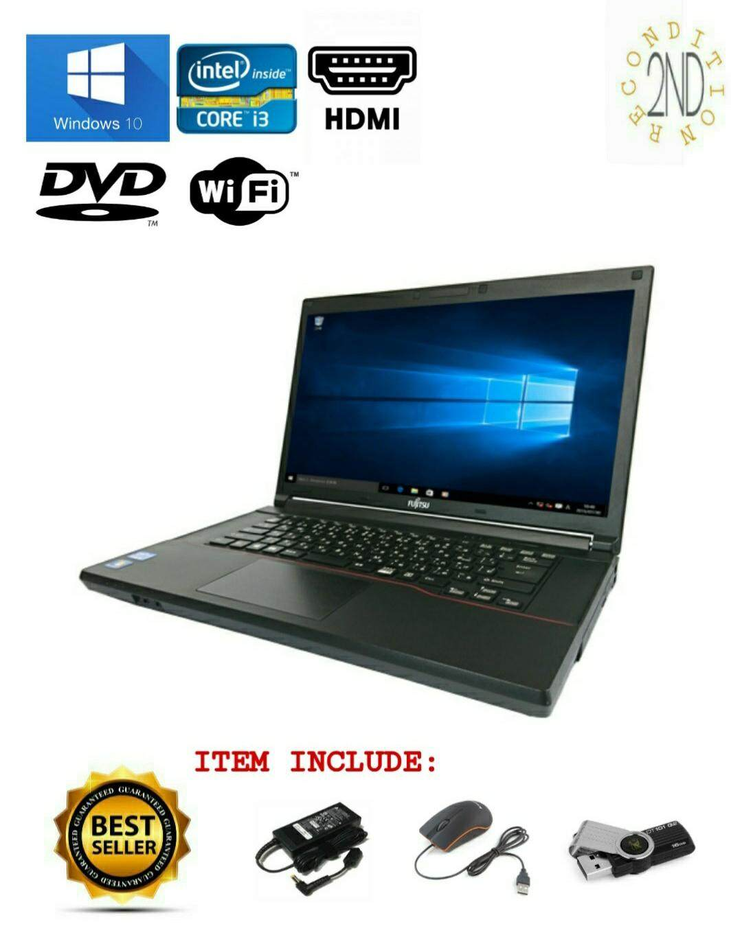 Fujitsu Intel Core i3 4Gb DDR3 Windows 10 Laptop Malaysia