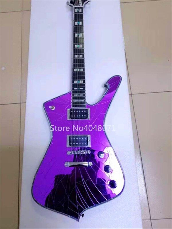 Free delivery, purple, gold, blue, ordinary white mirror cracks, 6-string electric guitar, customizable Malaysia