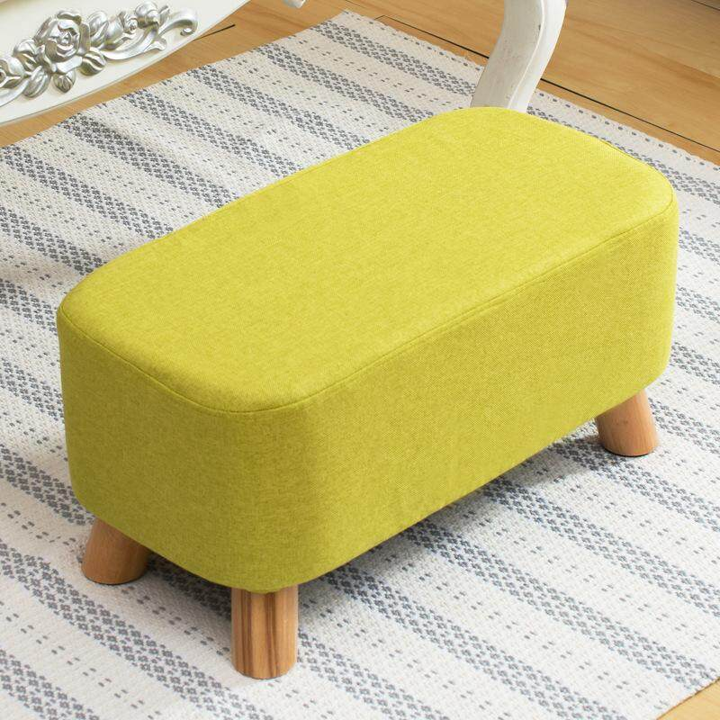 Change shoes stool solid wood fabric stool long bench sofa stool coffee table sofa small bench furniture gifts can be customized logo Grass