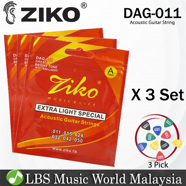 Ziko DAG-011 Acoustic Guitar Strings Extra Light Special Class A Great Bright Tone 3 Set (011-050) Malaysia