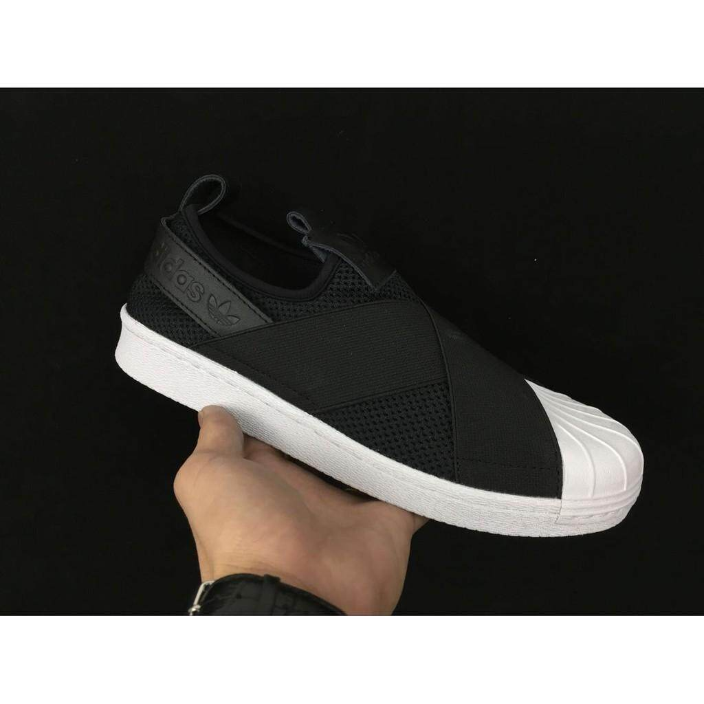 real picture Adidas SUPERSTAR SLIPON W black white skateboard shoe men women