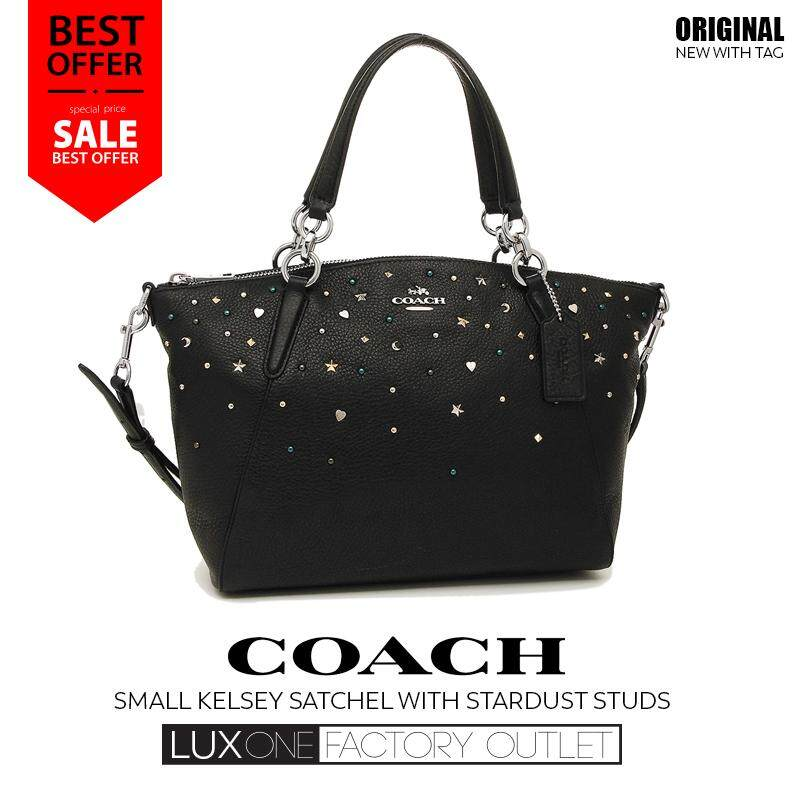 6d6cf1a74bcf  Authentic  Coach F22312 SV BK Small Kelsey Satchel With Stardust Studs  NWT