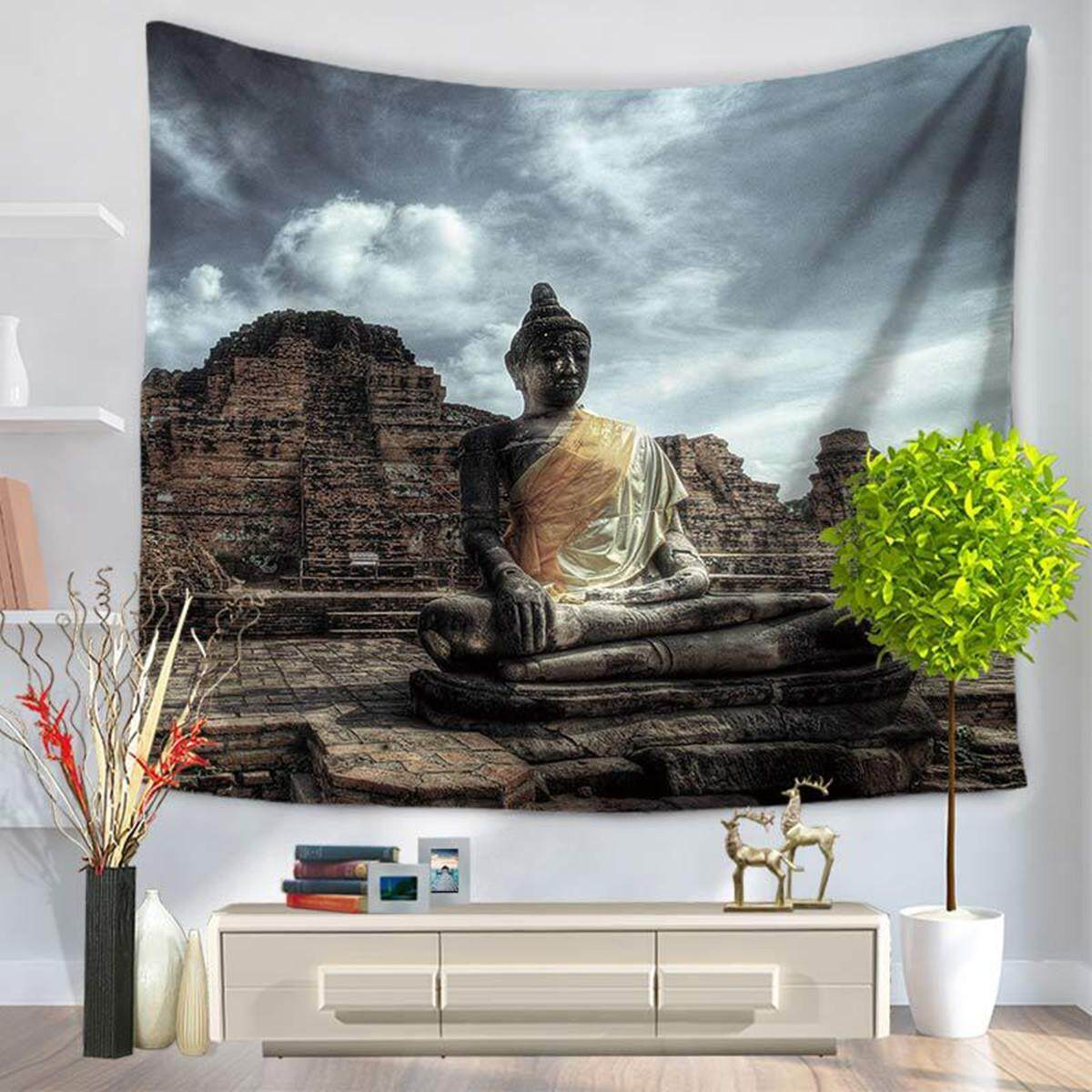 150x130cm Buddha Statue Tapestry Wall Hanging Bedspread Picnic Mat Throw Decor