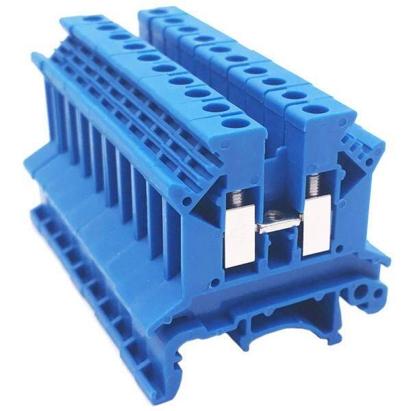 Combiner DK2.5N-BL 10 Gang Power Distribution Dk2.5N-BL 10 Gang Box Connector DIN Rail Terminal Blocks, 12-22 AWG, 20 Amp, 600V Solar Combiner, Blue