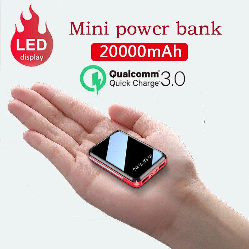 20000mah Portable Mini Power Bank Mirror Screen Digital Display Powerbank External Battery Pack Power Bank.