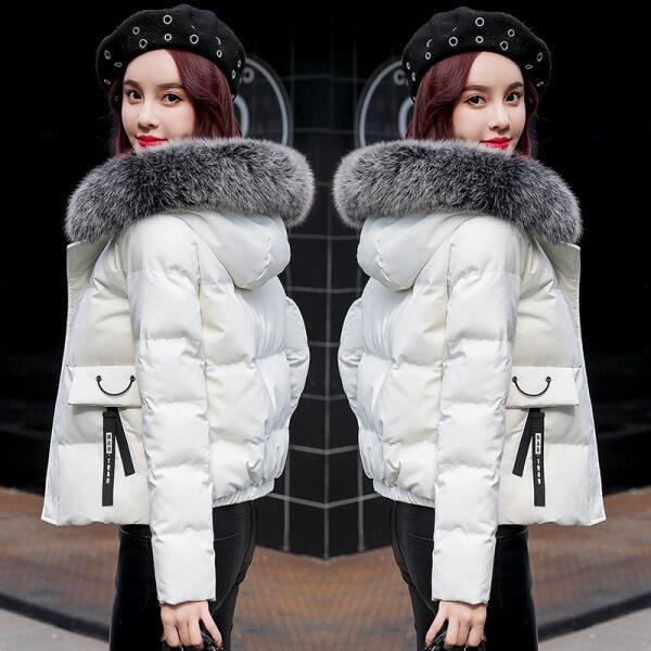 Áo Khoác Cotton Lót Đệm Mùa Đông Ngắn Siêu Cai Áo Cardigan Nữ Áo Khoác Phao Trùm Đầu Dáng Rộng Phong Cách Hàn Quốc