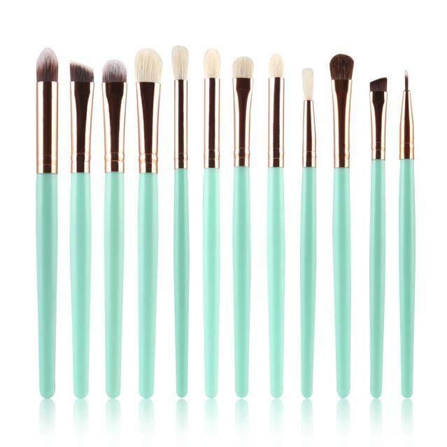 Dcoteres 12 Pcs Kuas Kosmetik Kuas Makeup Set Kit Alat GN