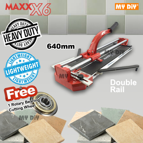 MYDIYHOMEDEPOT - MAXX X6 Heavy Duty Tile Cutting Machine / Tile Cutter Machine 640mm or 840mm Double Rail Professional / FREE ONE ROTARY BEARING CUTTING WHEEL