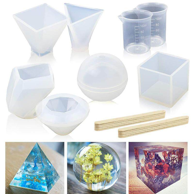 Multi Patterns DIY Silicone Mould Resin Pendant Mold Craft Diamond//Pyramid//Cube