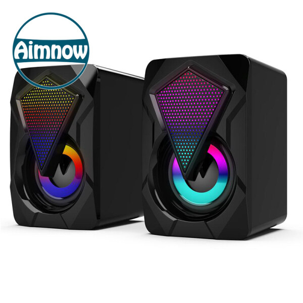 Aimnow 3.5mm USB X2 Wired Computer Gaming Speakers Bass Stereo Subwoofer Colorful LED Light For Laptop DVD Mp3 Mp4 Speaker Soundbar Malaysia