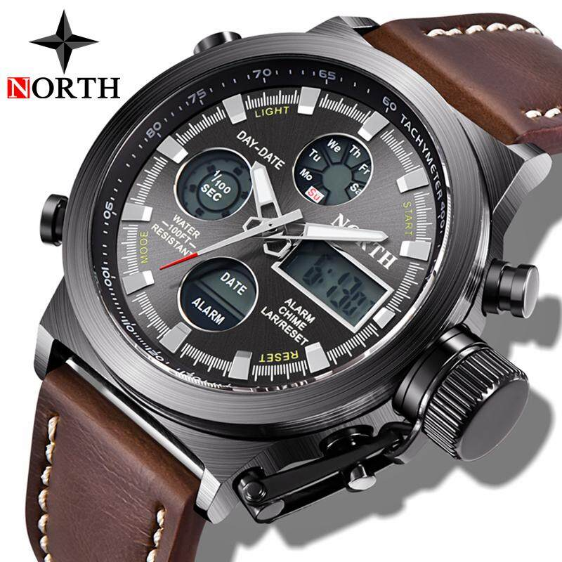 Watches Fashion Brand Sports Military Watch Big Dial 2 Time Zone Mens Watches Digital Led Watch Fashion Casual Electronics Wrist Watches