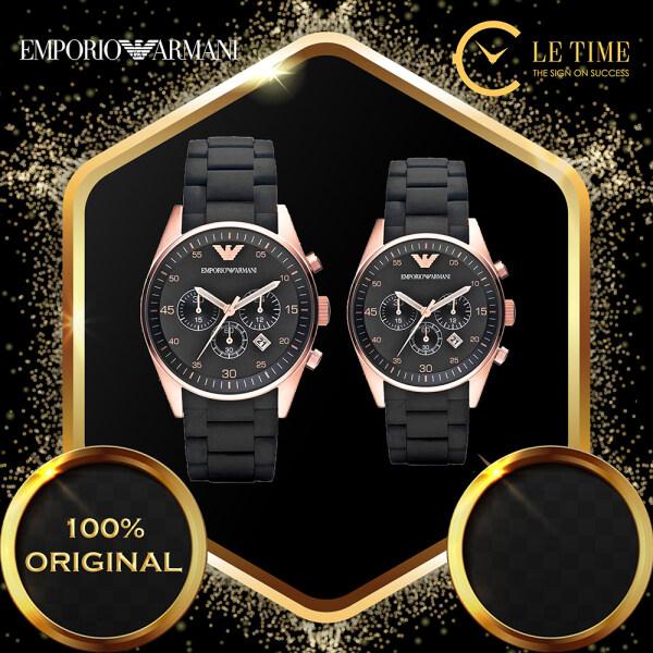 [Authentic] Emporio Armani Tazio Chronograph Black Dial Silicon Men Women Couple Watch Jam Tangan Lelaki Wanita Perempuan AR5905 AR5906 Malaysia