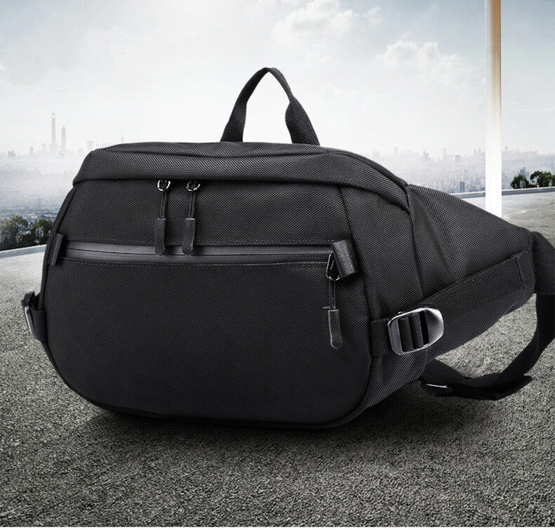 Ozuko 9206 Casual Waist Packs Male Waterproof Fanny Pack Men Shoulder Belt Bag Phone Pouch Bags For Short Travel Waist Chest Bag.