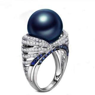 Phụ Nữ Thời Trang Micro Cubic Zircon Blue Pearl Đính Hôn Nhẫn Cưới Cổ Điển Mạ Đồng Nhẫn Bạc thumbnail