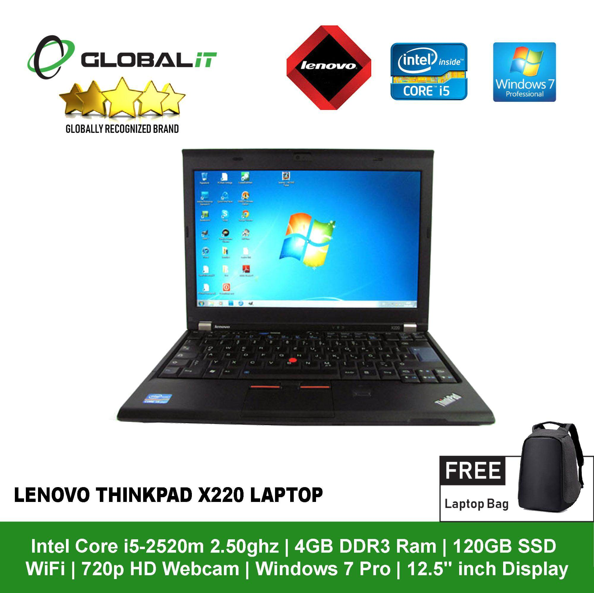 (Refurbished Notebook) Lenovo Thinkpad X220 Laptop / 12.5 inch Display / Intel Core i5-2520M / 4GB DDR3 Ram / 120GB SSD / WiFi / Windows 7 Pro / Webcam Malaysia