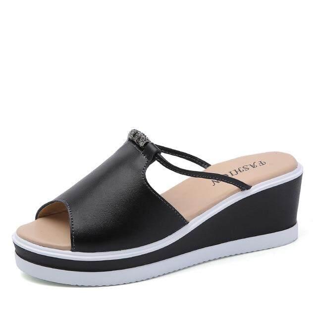 1b811086b0c97b O16U Women Slipper Sandals Heels Wedges Platform Leather Peep toe Crystal  Elegant Female Sandals Ladies Mules