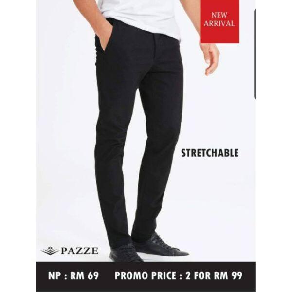 Pazze Seluar Slack Hitam Slim Fit Stretchable Navy Dark Blue Blue Black Grey Khaki