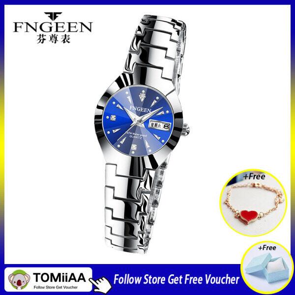 [With Box]TOMiiAA 2020 New Fngeen Korean Fashion Womens Watch Waterproof Calendar Ultra-thin Stainless Steel Ladies Quartz Watch Clock Gift Malaysia