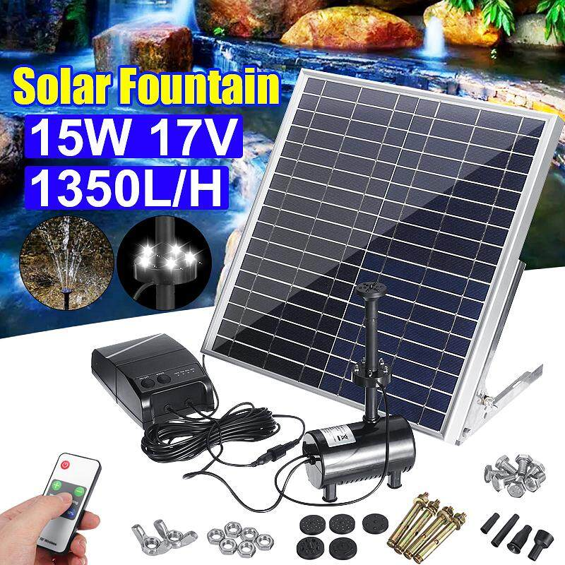 15W Solar Diving Fountain Water Pump Led Remote Home 1350l / h Built-In Battery