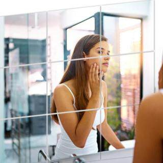 16 cái Tự Dính Hình Vuông NHỰA PVC Gương Dán Tường cho Nhà Cửa Sổ Ốp thumbnail