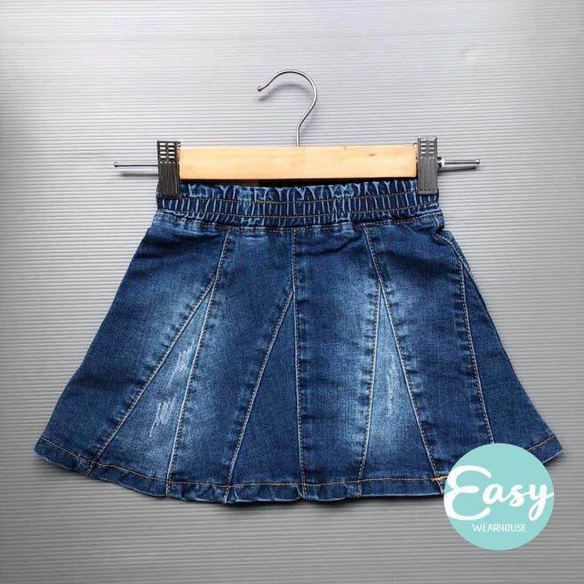 [6m-10y] Baby Toddler Girls High Quality Denim Jeans Skirt Elastic Waist By Easy Wearhouse.