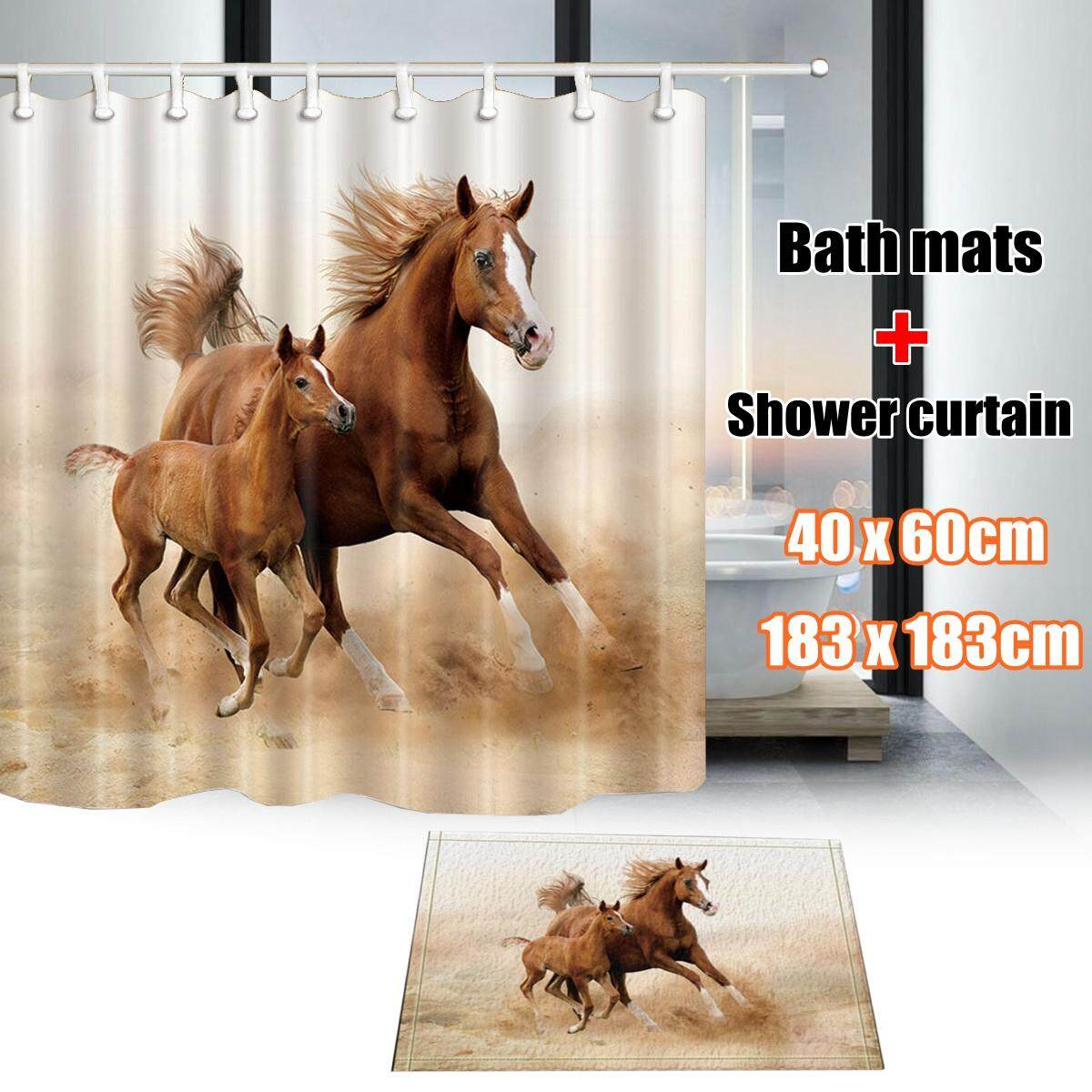【Free Shipping + Flash Deal】Horse mother and son Bathroom Shower Curtain Waterproof Fabric w/12 Hook 71*71in