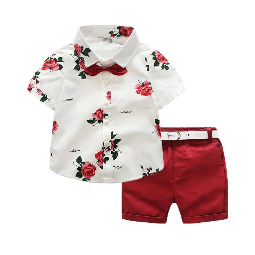 06ab7038bb46 Docesty Toddler Baby Boy Gentleman Suit Rose Bow Tie T-Shirt Shorts Pants  Outfit Set