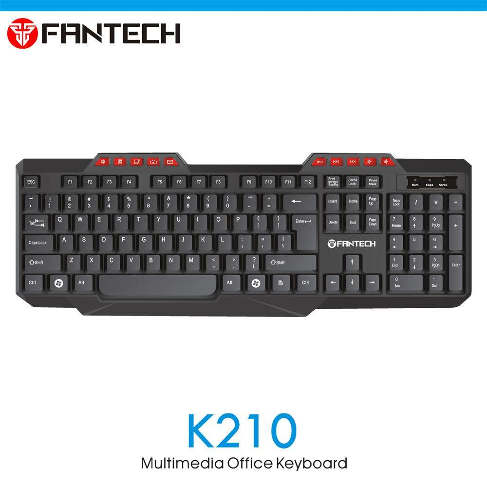 FANTECH K210 Multimedia Office Keyboard 114 Key Wired USB 2.0 For PC/Laptop (Waterproof Splash Design) Malaysia