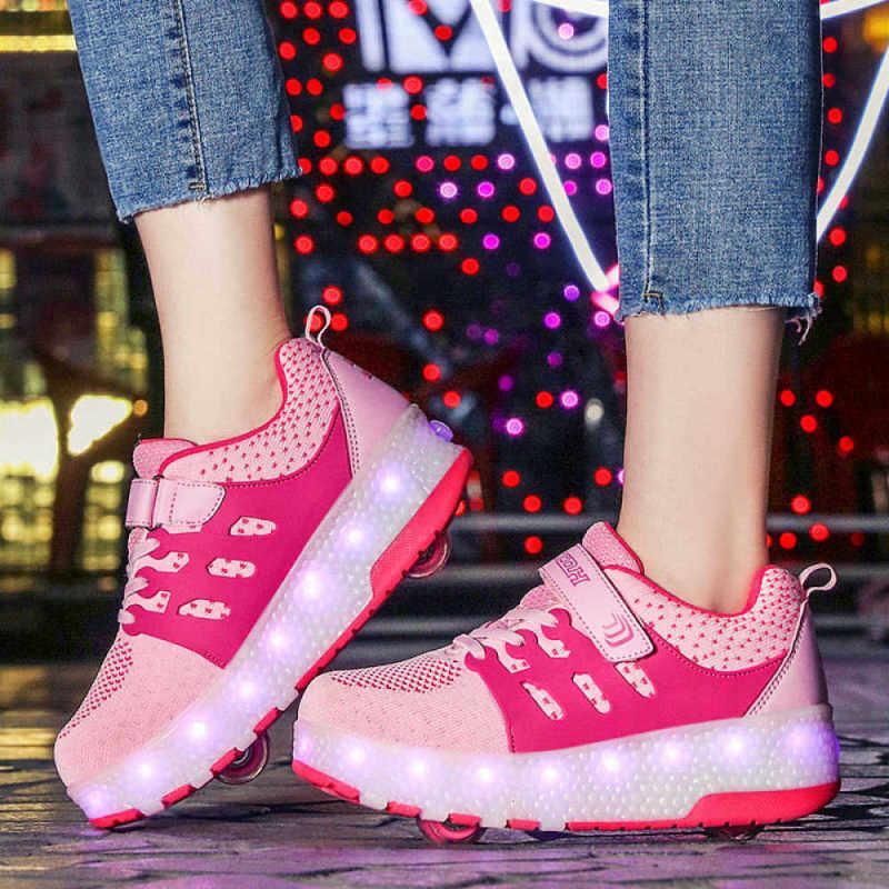 Phân phối Moven Sạc USB Giày Giày Có Bé Gái Lăn Giày Bé Trai Trẻ Em LED Lên Bánh Giày