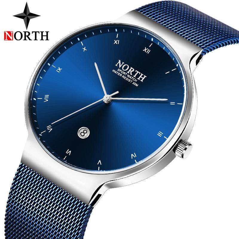 NORTH Fashion Sports Mens Watches Top Brand Luxury Steel Mesh Strap Quartz Business Watch Men Casual Waterproof Military Clock Malaysia