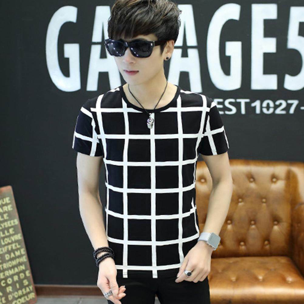 6285d3ef8170 HuaX Men T-Shirts Korean Style Fashion Youth Round Neck Short-sleeved T-