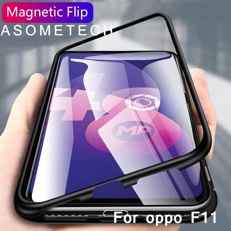Magnetic Flip case for oppo f11 case clear Glass hard back cover luxury metal frame protection
