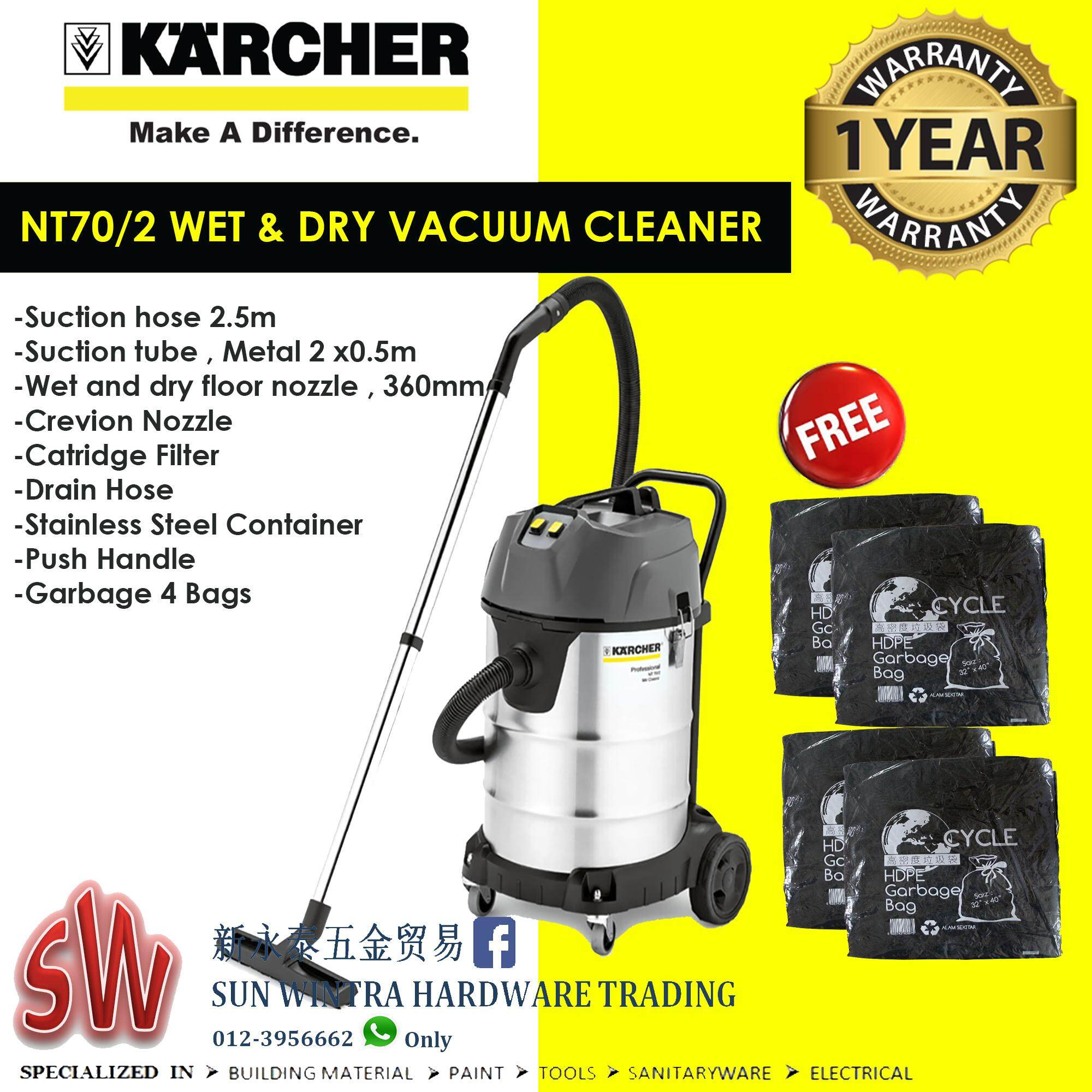 KARCHER NT70/2 PROFESSIONAL WET & DRY VACUUM CLEANERS F.O.C 4X GARBAGE BAG