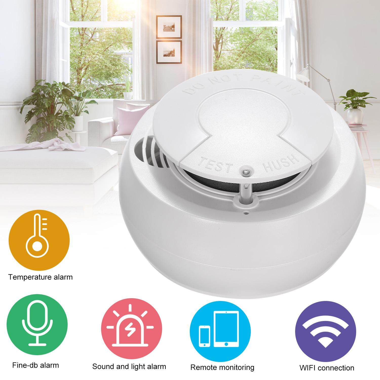 WiFi Smoke Detector Intelligent Fire Alarm Detector Smoke Sensor Support APP Remote Monitoring for Home/Kitchen/Store/Hotel/Factory