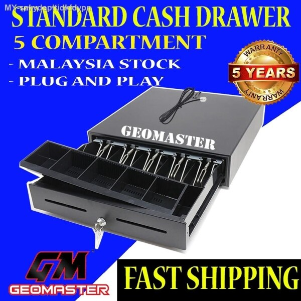 5 Compartment Heavy Duty Cash Drawer Box POS Register RJ-11 Key Lock With 5 Bill 5 Coin Trays