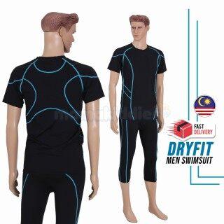 QTEL Mới 2 Mảnh Đàn Ông Trang Phục Bơi Đồ Bơi Baju Renang Lelaki Hồi Giáo-Đen Và Xanh thumbnail