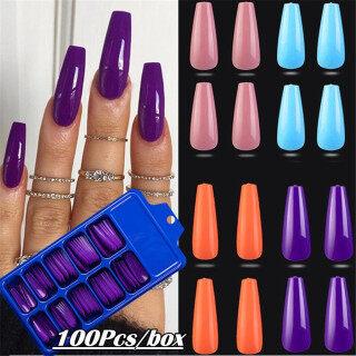 ficcr737 100 cái bộ Kẹo Màu sắc Acrylic UV Gel Full Cover Coffin Móng tay giả thumbnail